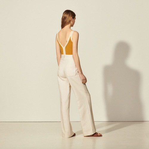 Trousers with centre front zip - Beige
