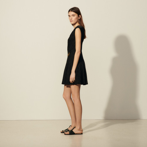 Sandro short mini dress black