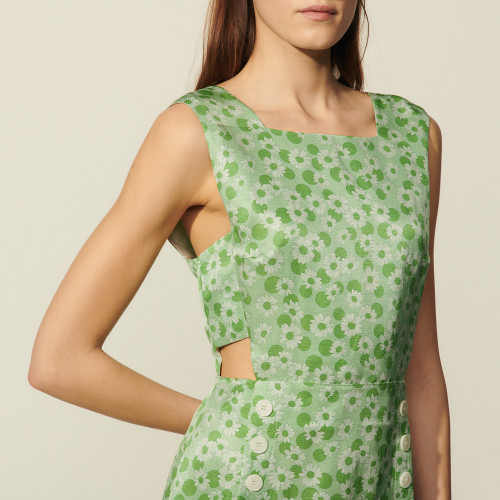 Long printed dress with wide straps - Green