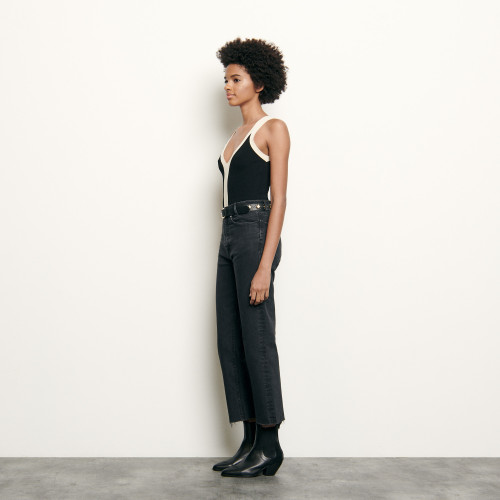 Two tone knitted bodysuit with straps - Black