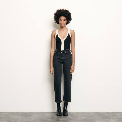 Sandro Two-tone knitted bodysuit with straps