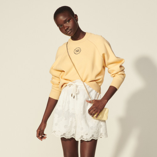 Sandro Lace shorts with embroidery