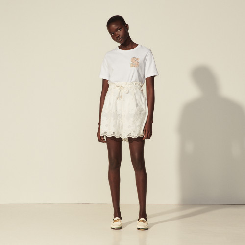 Lace shorts with embroidery - White