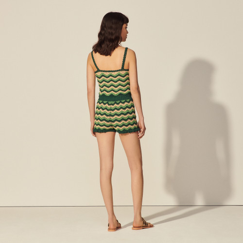Crochet knit shorts - Green
