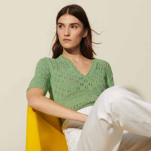 Short sleeved fancy knit sweater - Green