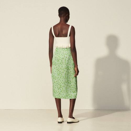 Straight printed skirt with buttons - Green
