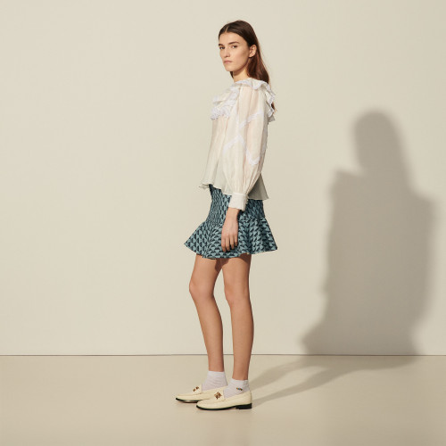 Sandro white shirt with ruffles