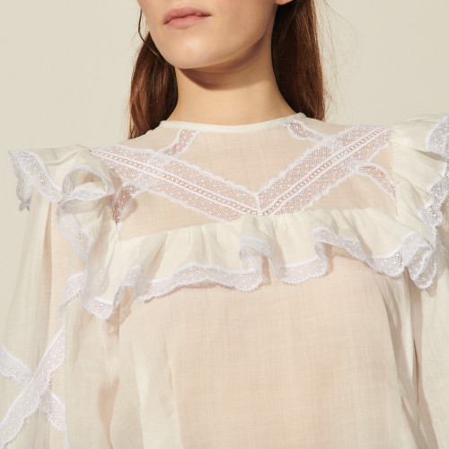 Top with braid trim and ruffles - Ecru