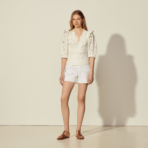 Sandro white lace ruffle top