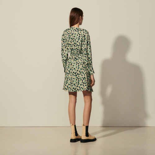 Short printed dress with gathers - Multiclr