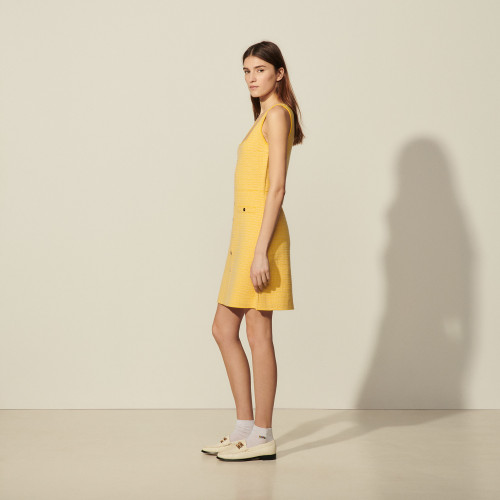 Short tweed dress with square neckline - Yellow