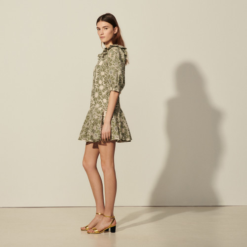 Short dress in embroidered fabric - Green