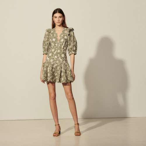 Sandro Short dress in embroidered fabric