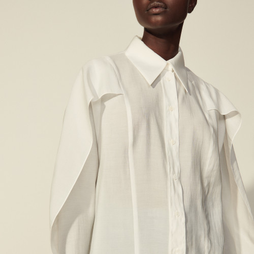 Sandro Oversized cape shirt with ruffles