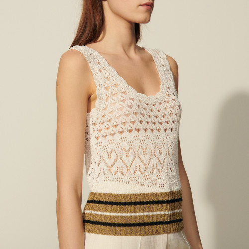 Sandro Knitted pointelle vest top