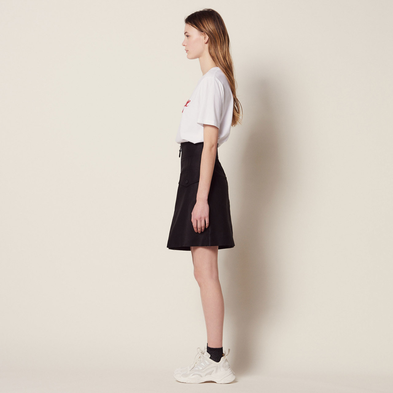 High Waisted Skirt With Contrasting Zip - Black