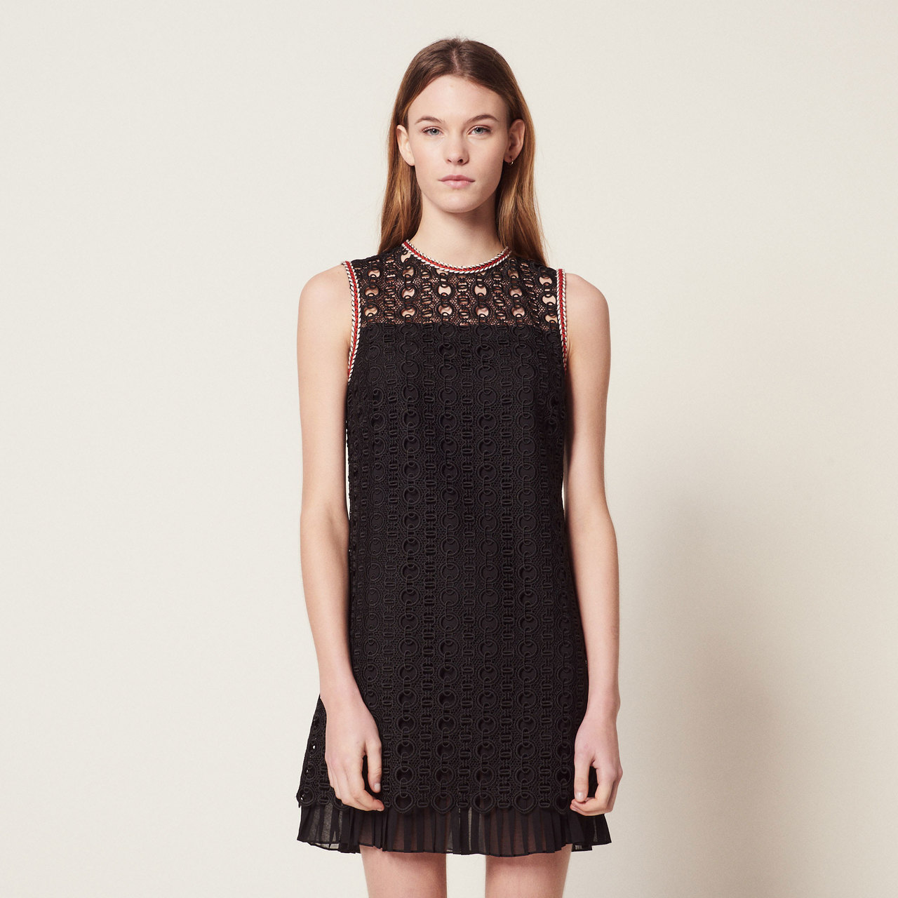 Sleeveless Guipure Dress - Black