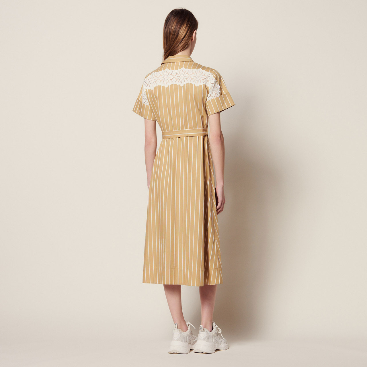 Striped Short Sleeved Shirt Dress - Beige