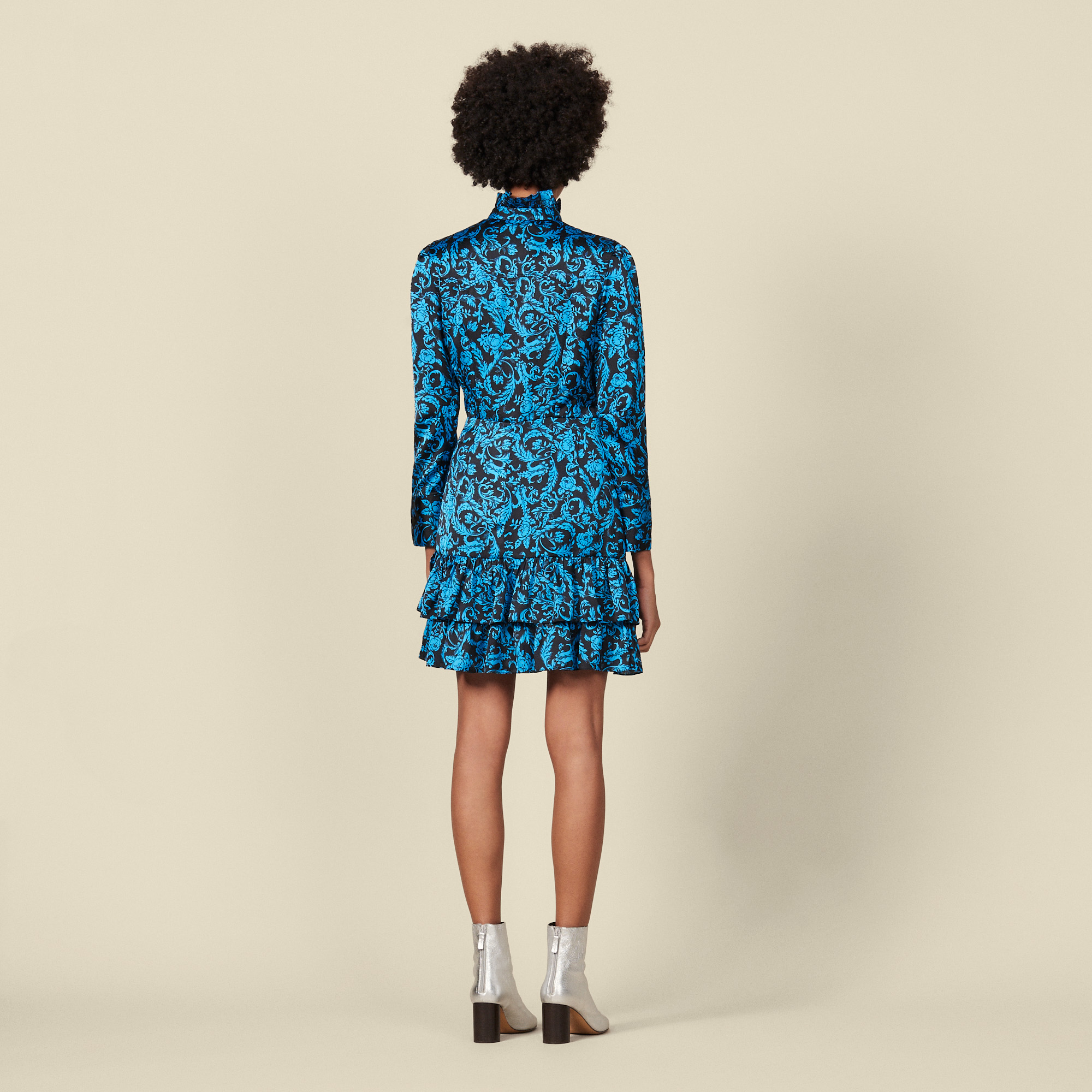 Printed dress with ruffles & high collar - Blue