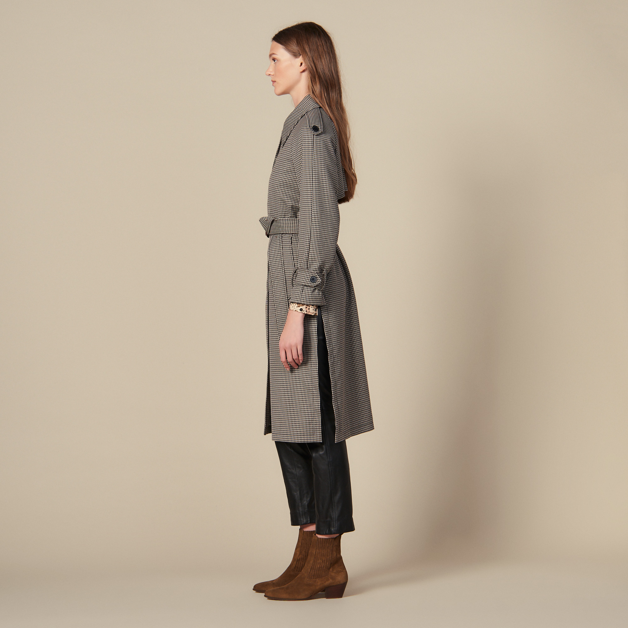 Trench coat with side slits - Brown