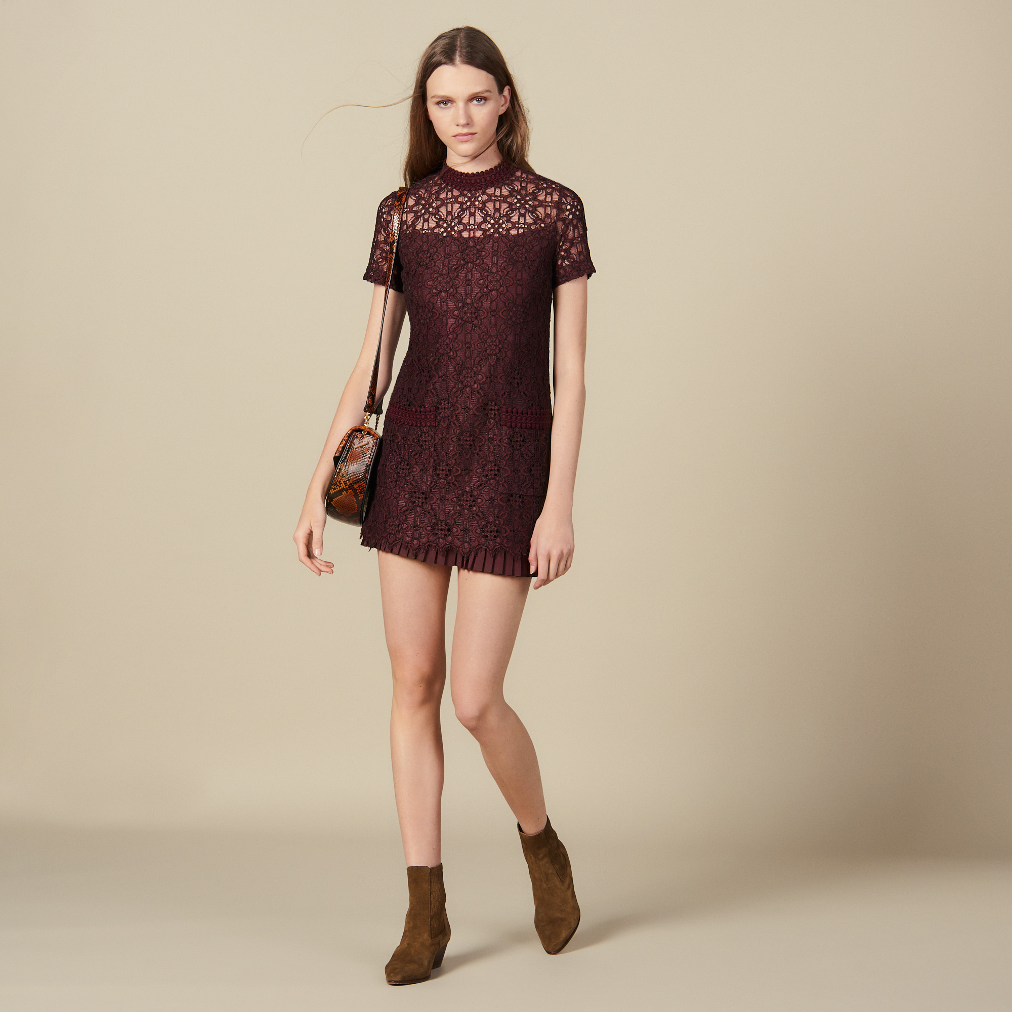 Short lace dress - Plum