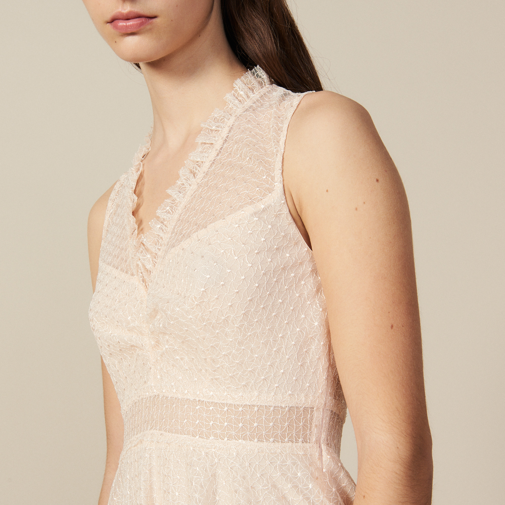 Long embroidered tulle dress - Nude