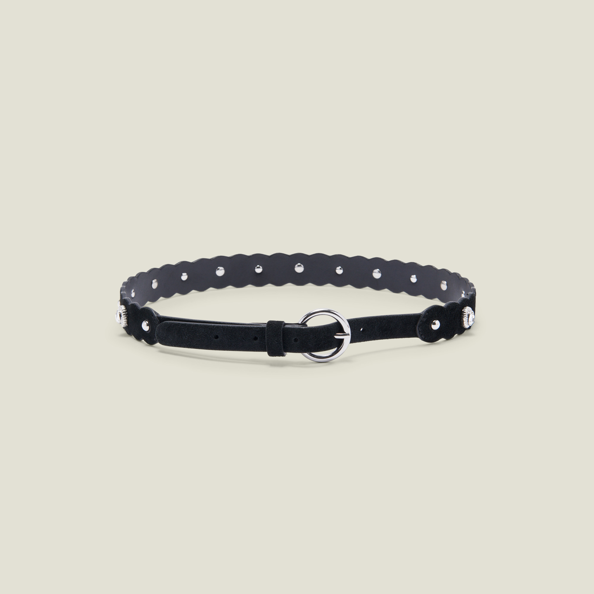 Belt with rhinestones and rivets - Black