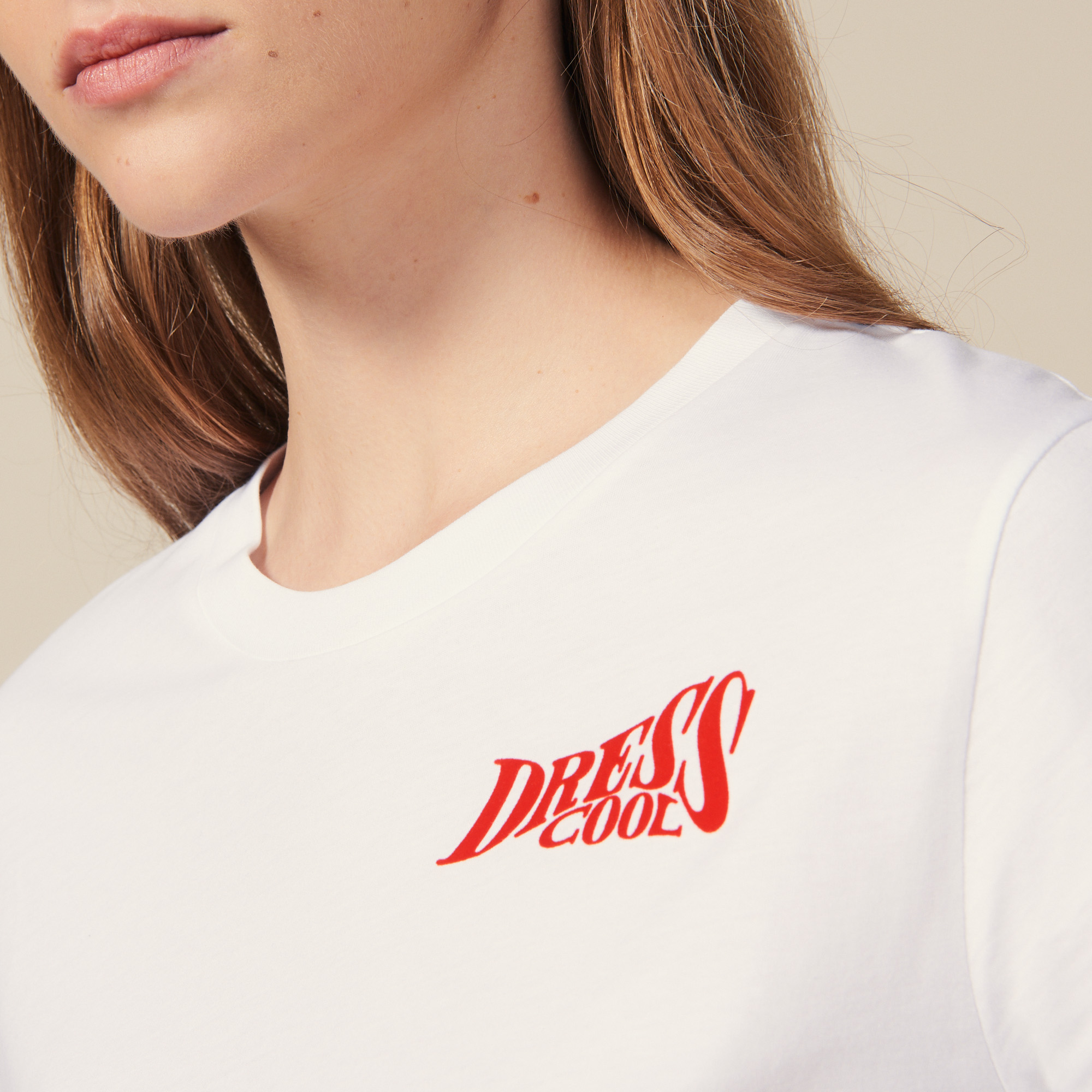 """Cotton T shirt with """"Dress Cool"""" lettering - White"""