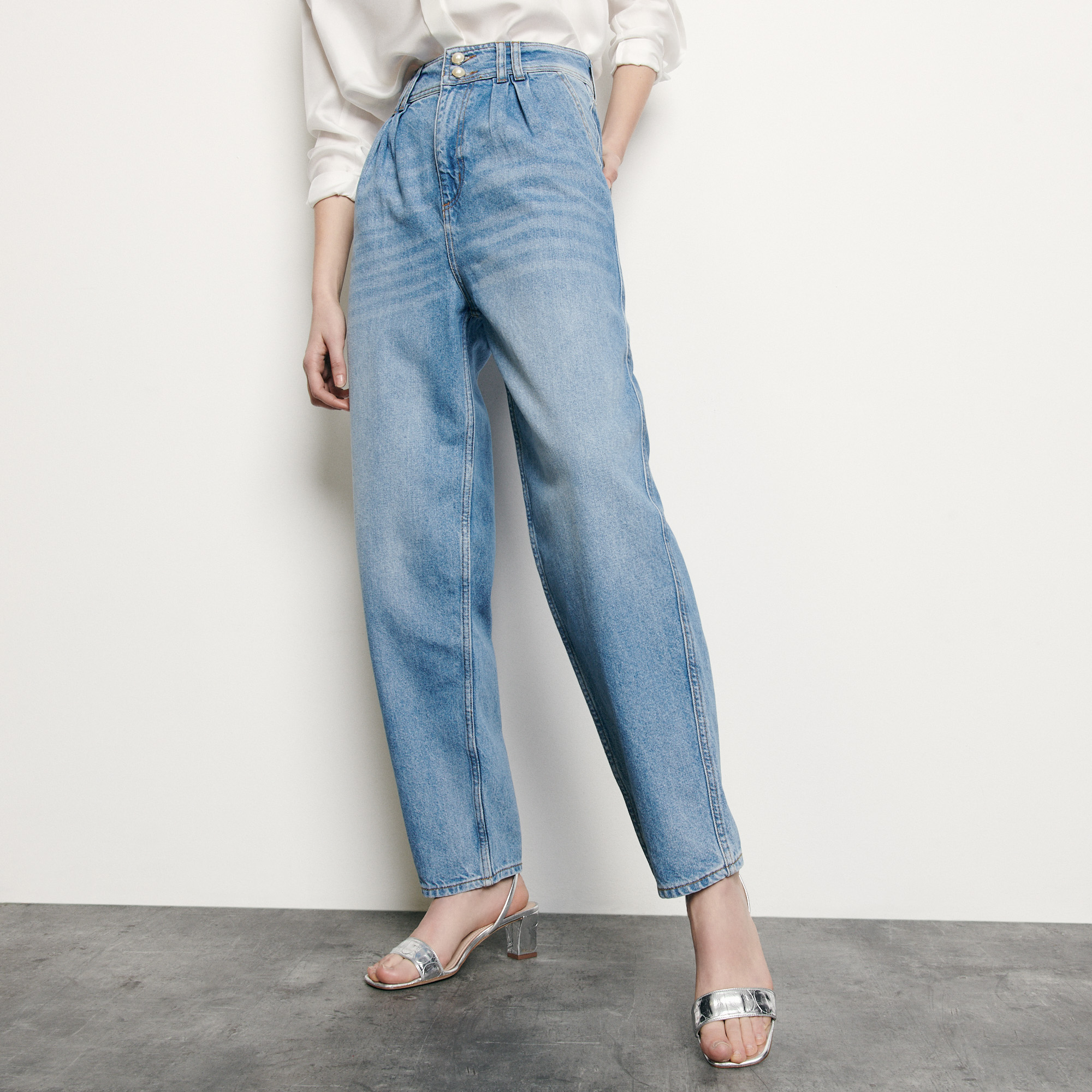 High waisted jeans with pearls buttons - Denim