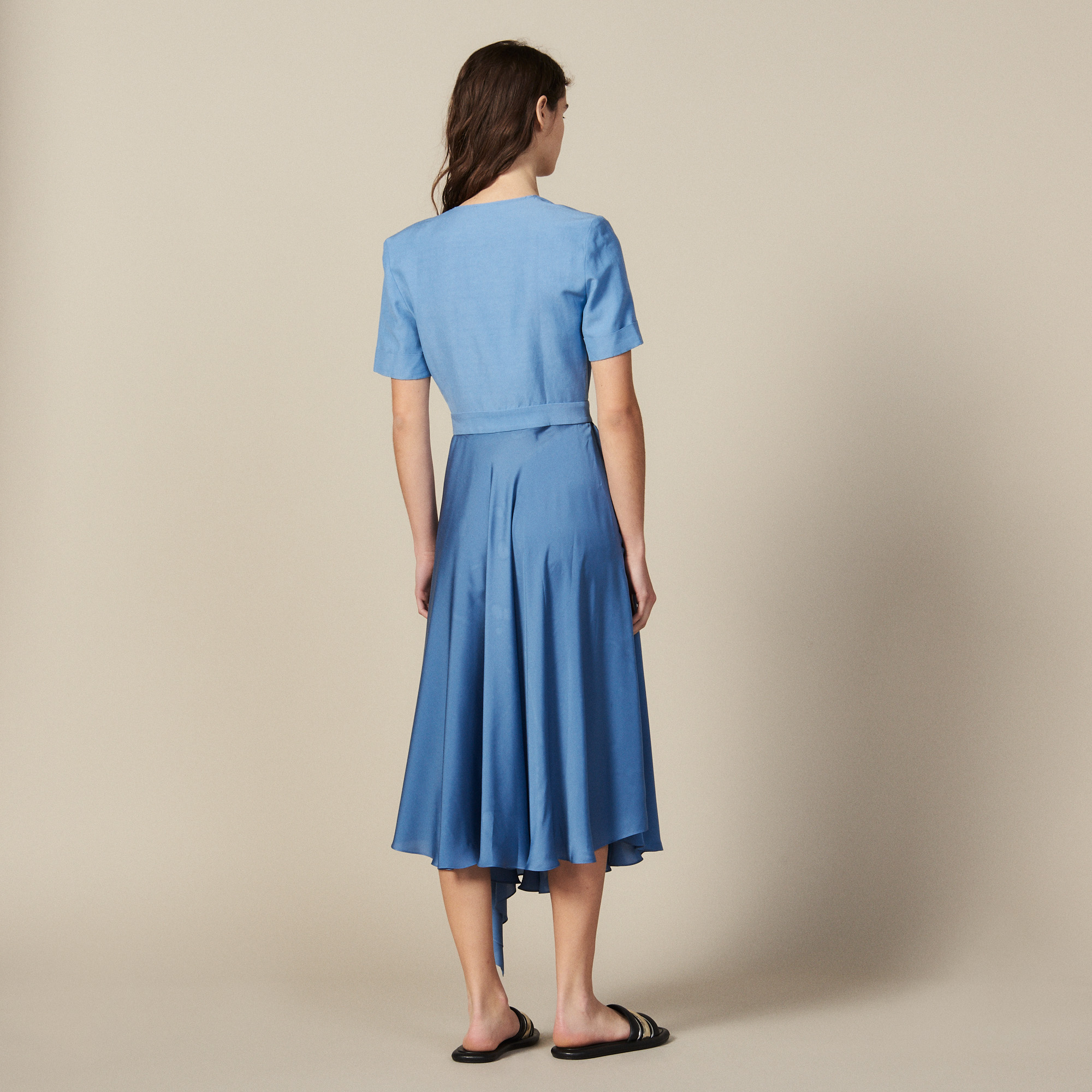 Mixed material wraparound dress - Blue