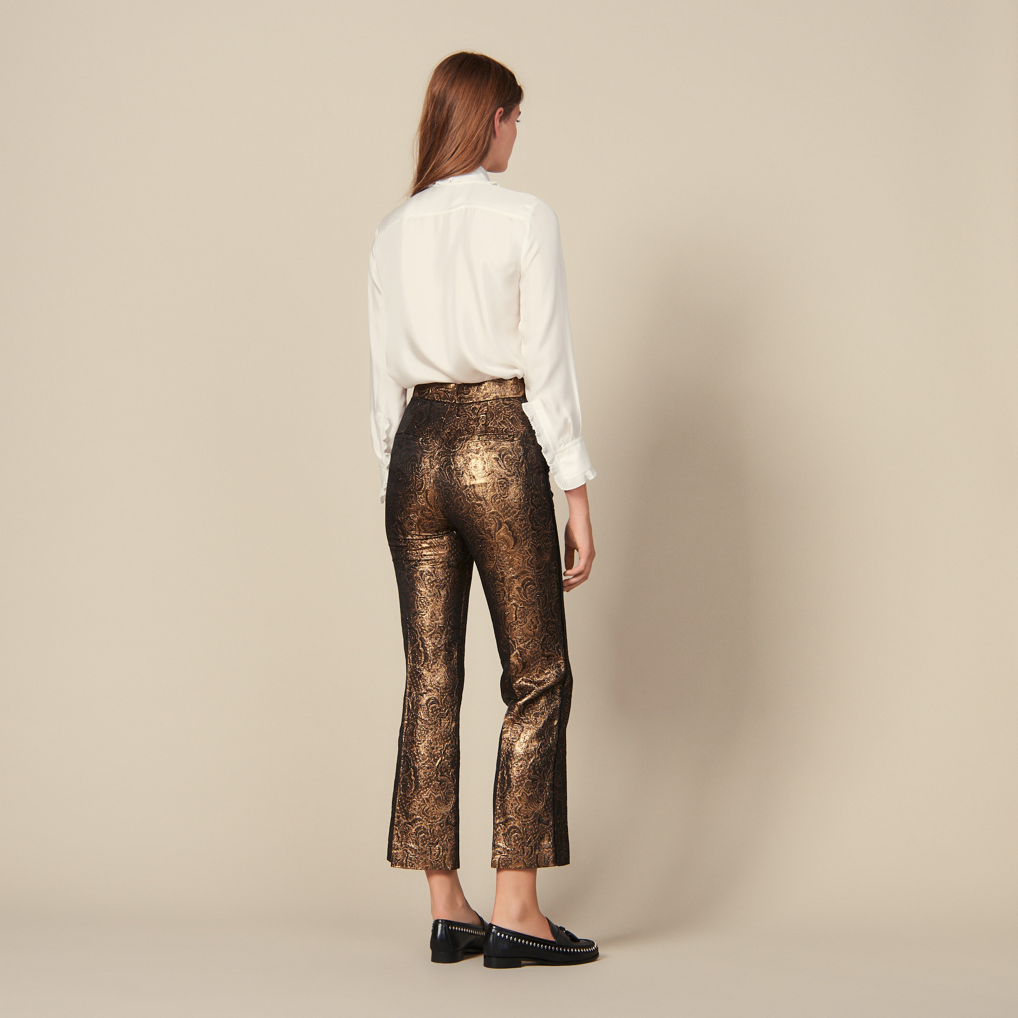 Flared brocade tailored trousers - Gold