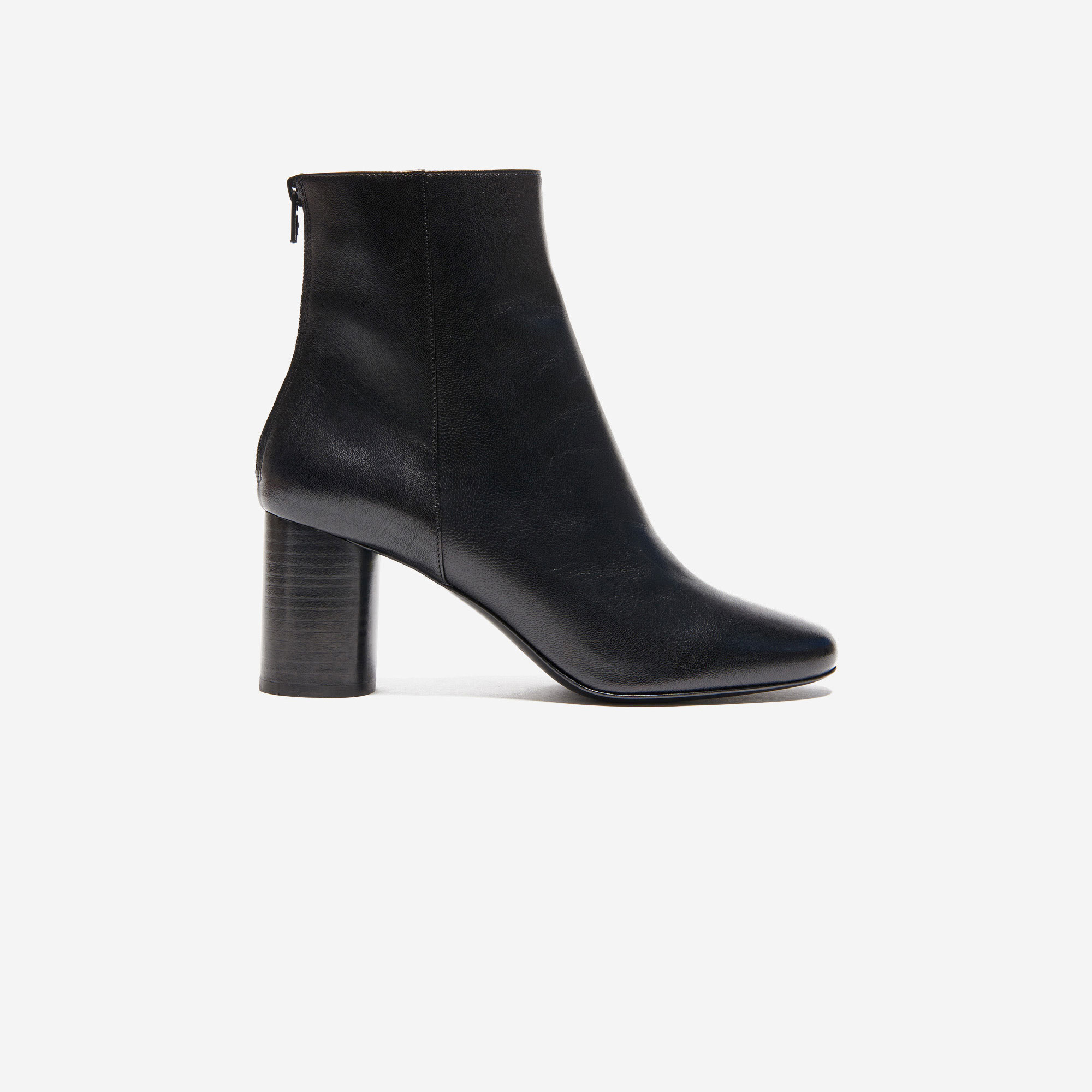 Black Leather Ankle Boot - Black