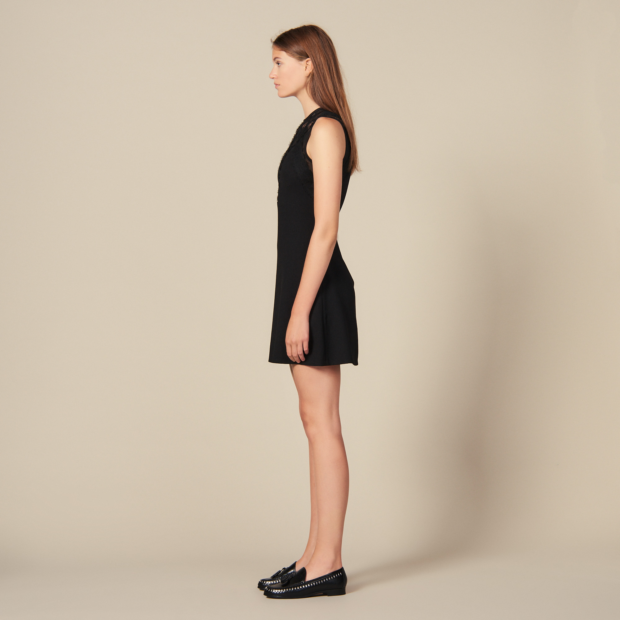 Black dress with lace inserts - Black