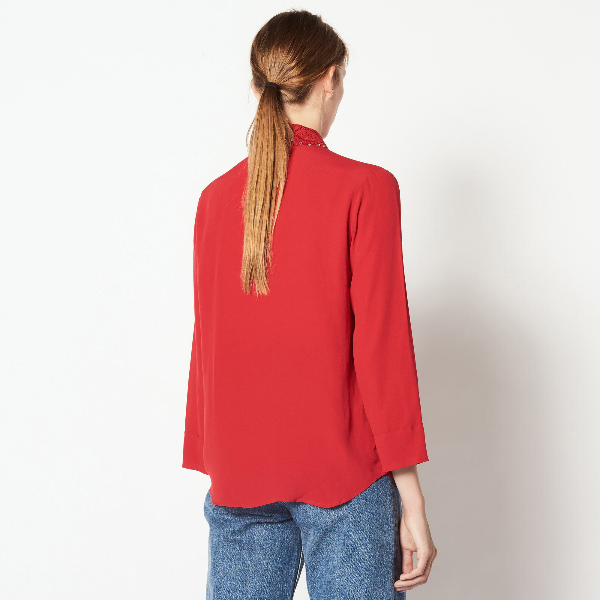 Shirt with broderie anglaise collar - Red