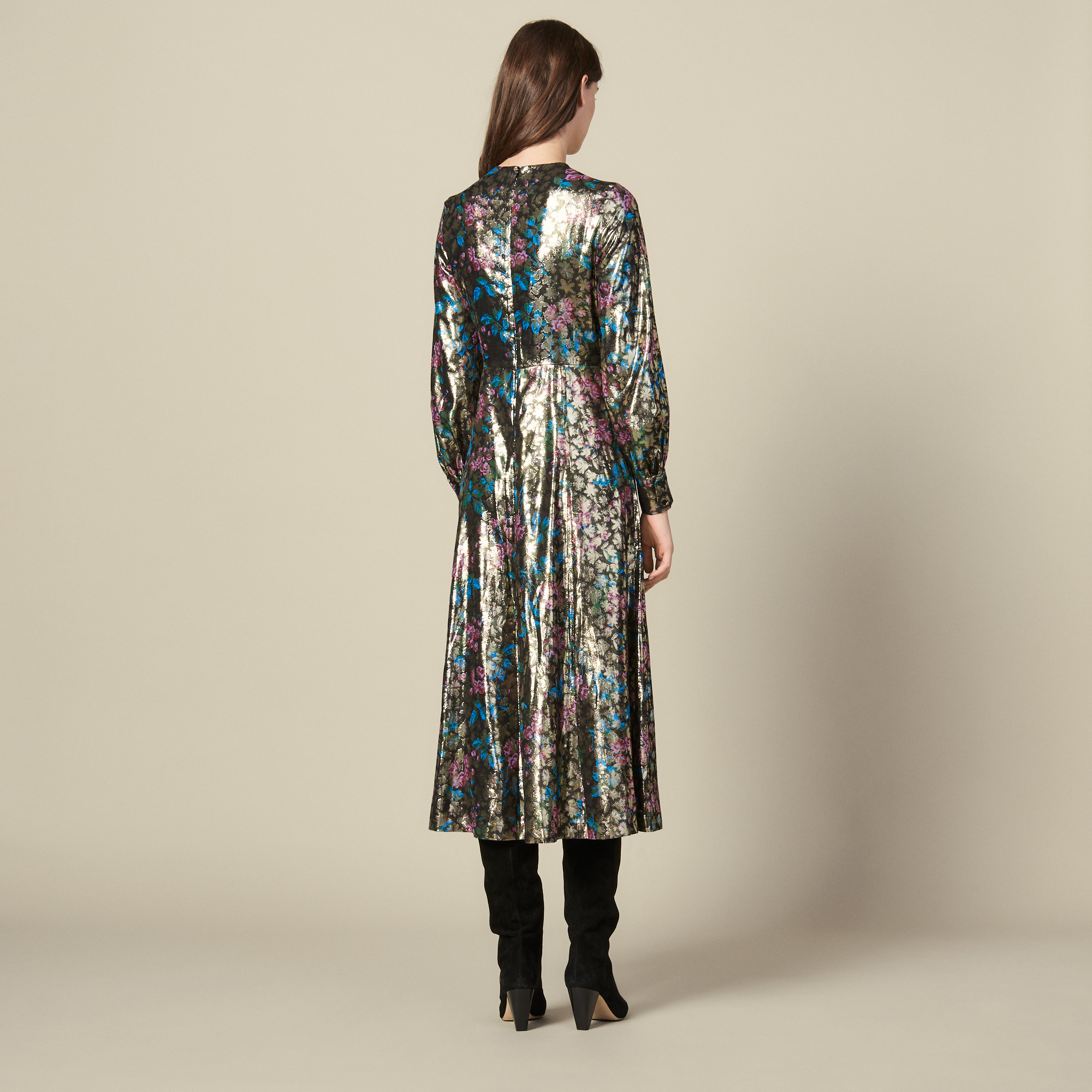 Long lurex jacquard dress - Multiclr