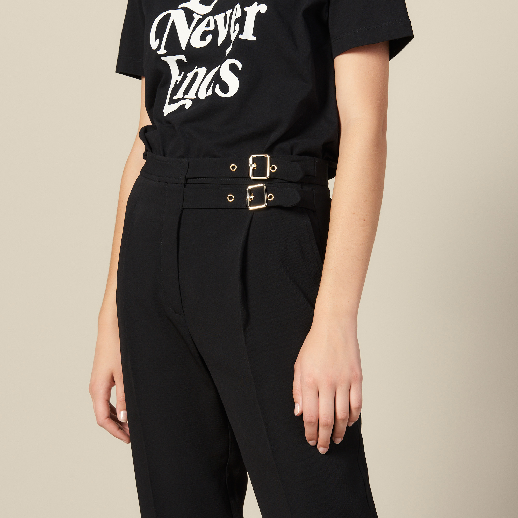 High waisted trousers with buckles - Black