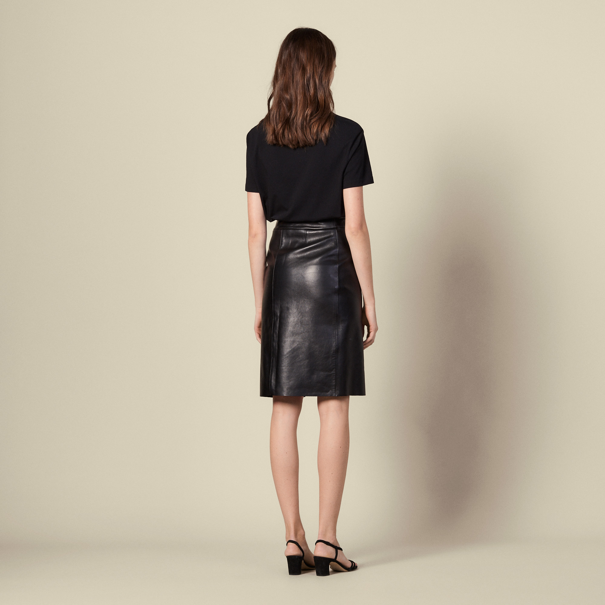 Leather wrapover skirt with slit  - Black