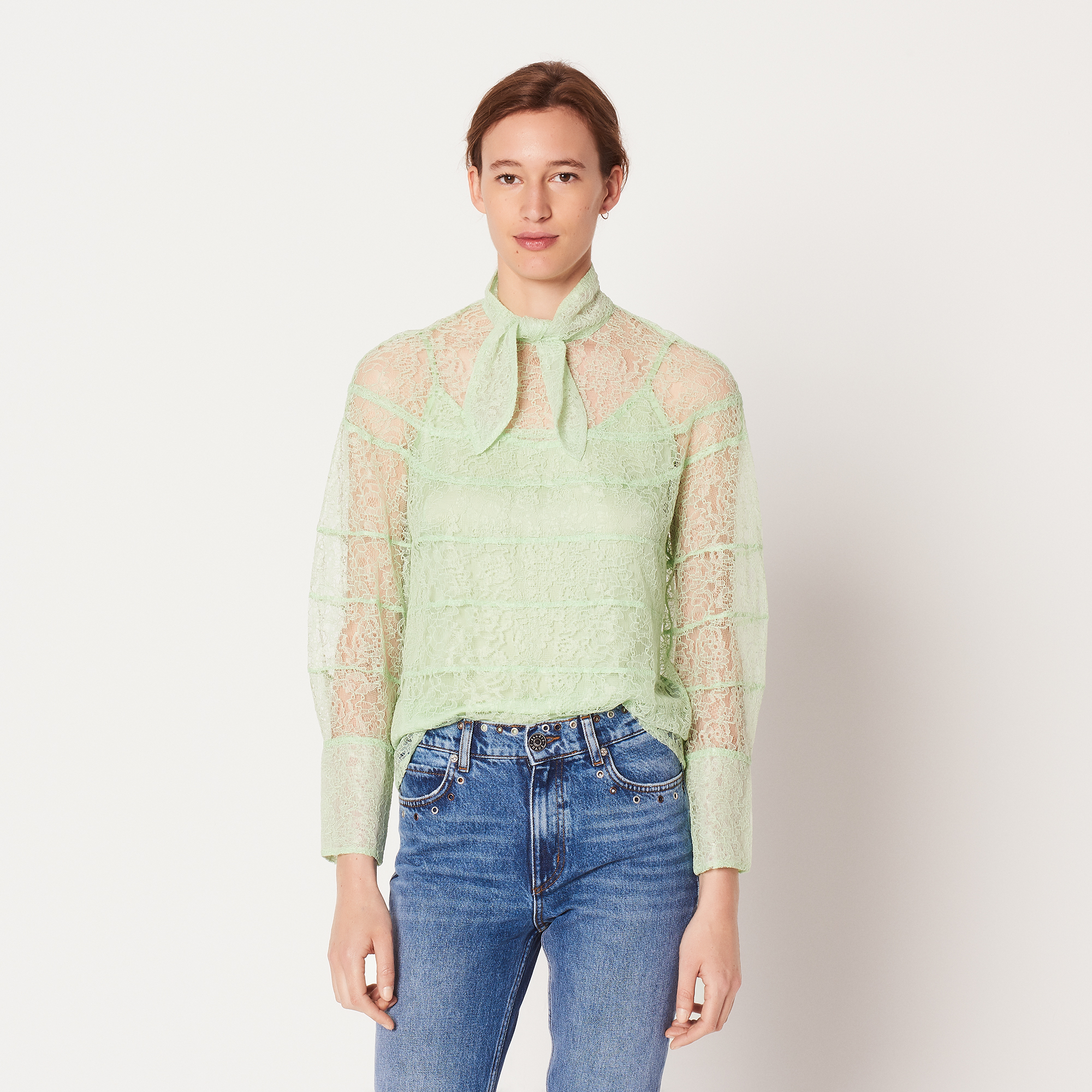 Long Sleeved Lace Top With Graphic Cut Outs - Almond Green