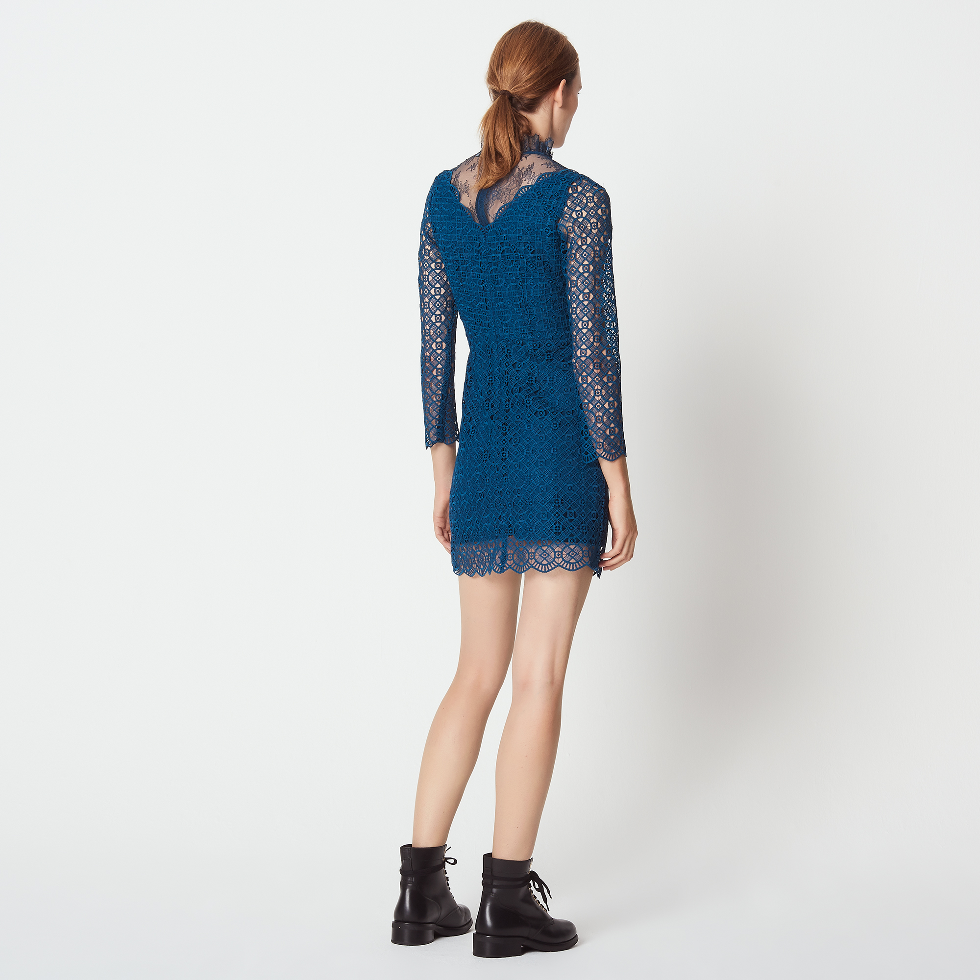 Guipure And Lace Dress - Petrol Blu