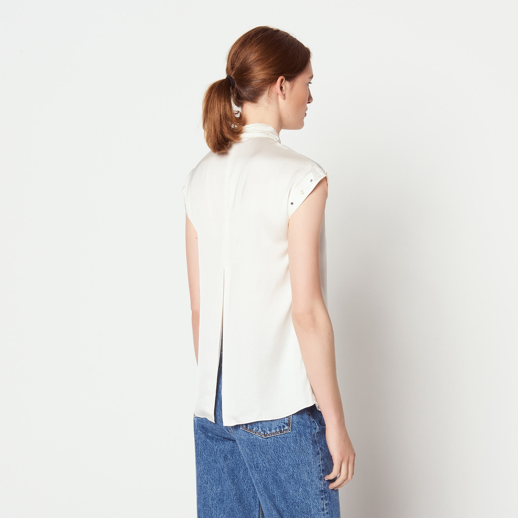 Top with studded detail - Ecru