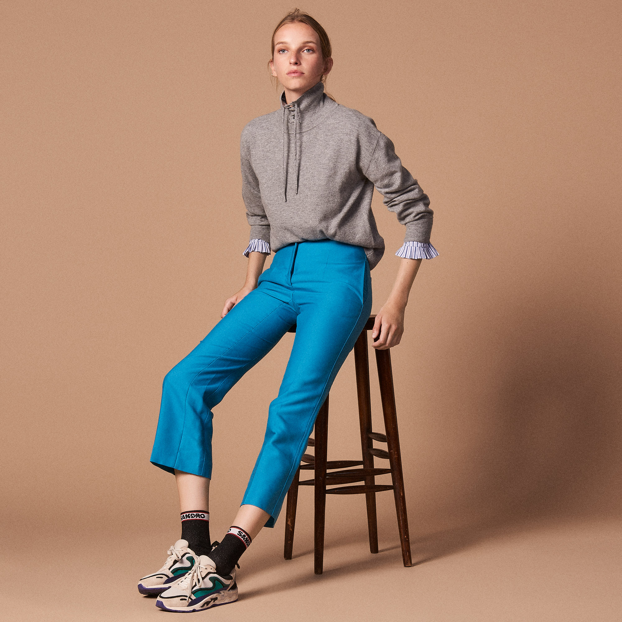 Straight Cut 7/8 Length Trousers - Aqua