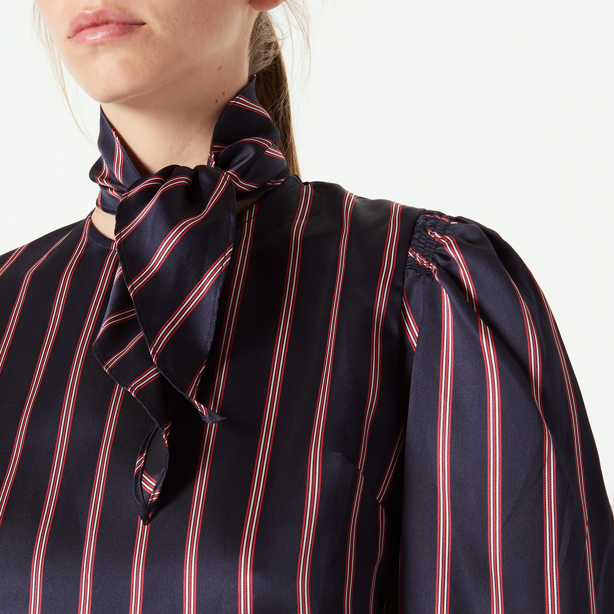 Striped Shirt With Bow At The Neck - Dark Navy