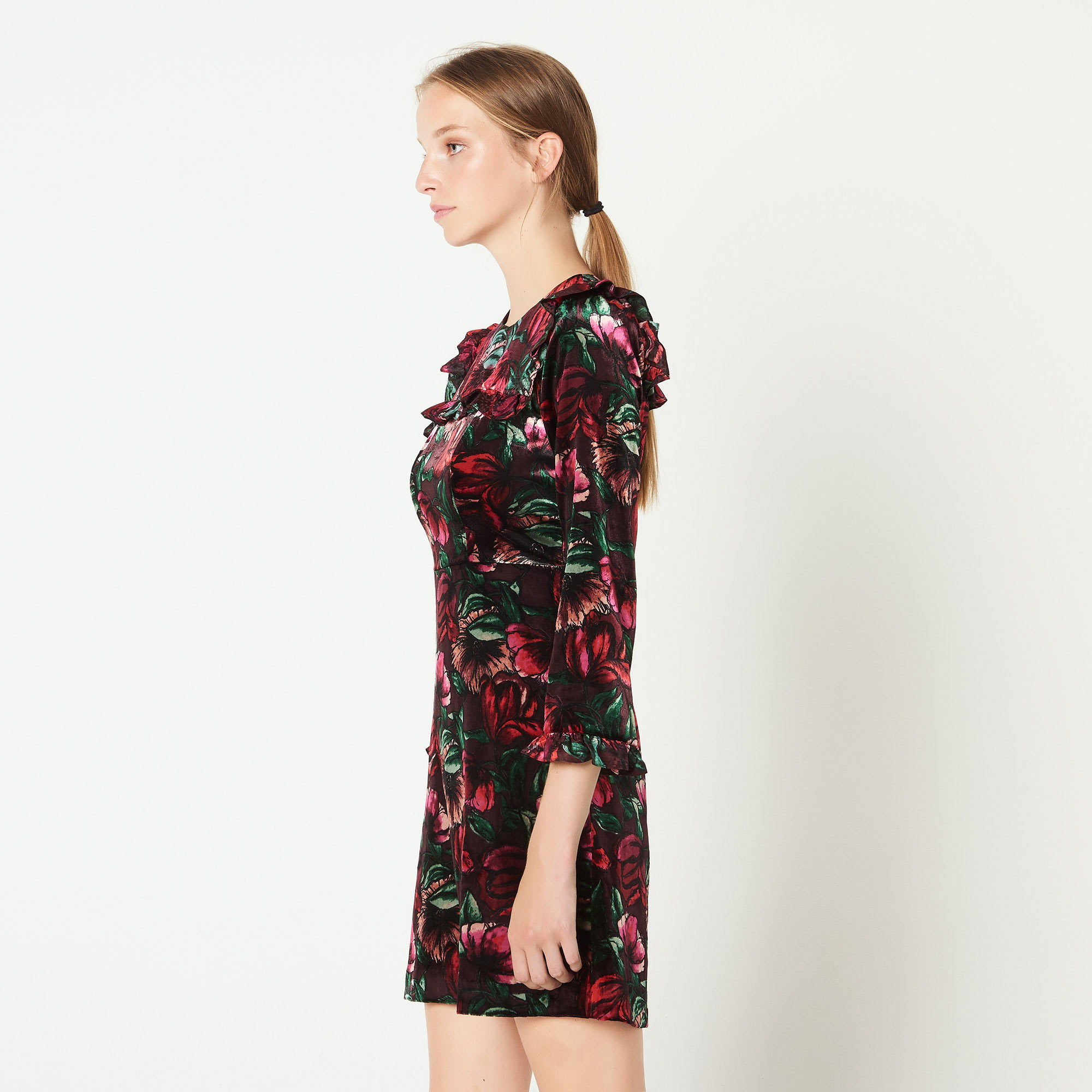 Printed dress with ruffles - Bordeaux