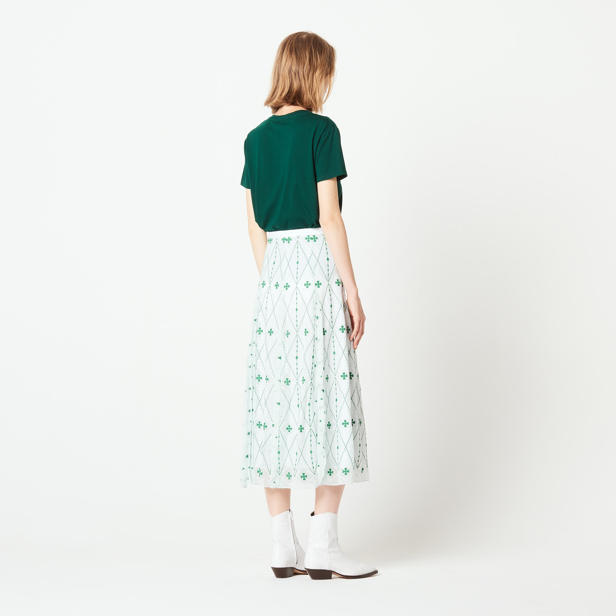 Long skirt with all over embroidery - Green