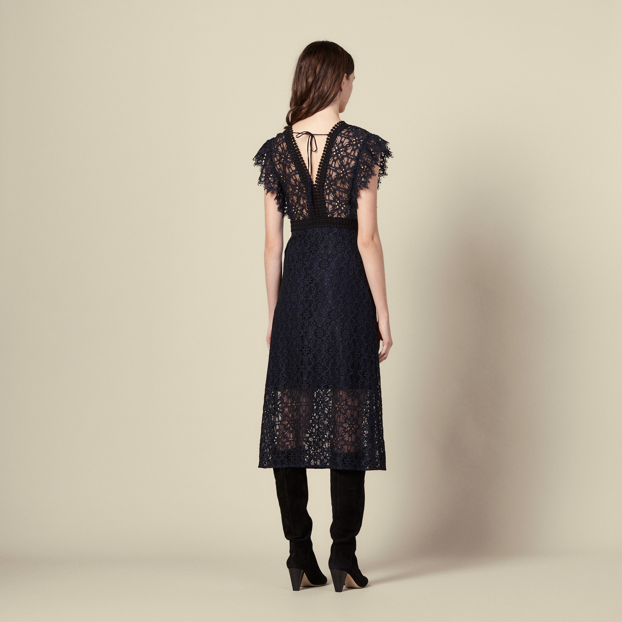 Lace midi dress  - Navy