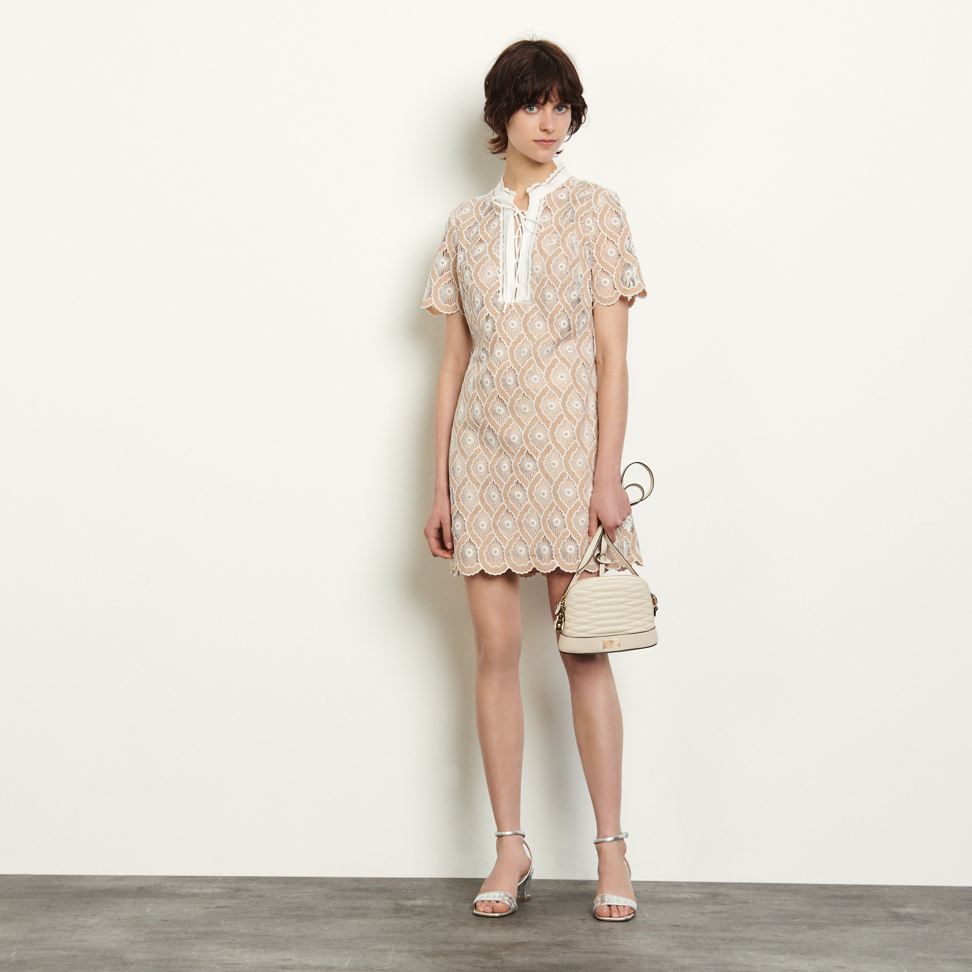 Short broderie anglaise dress - Beige