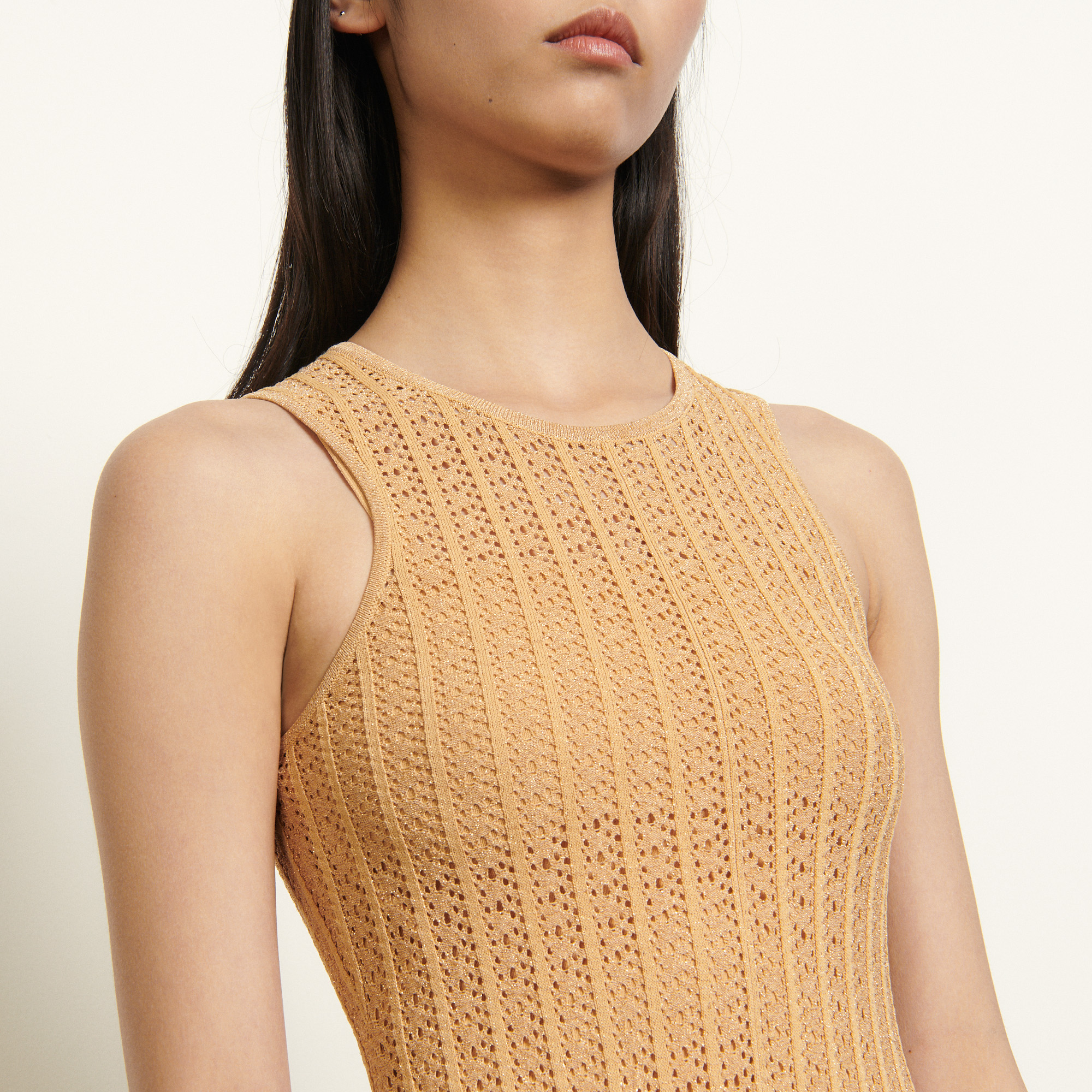Long patterned pointelle dress 