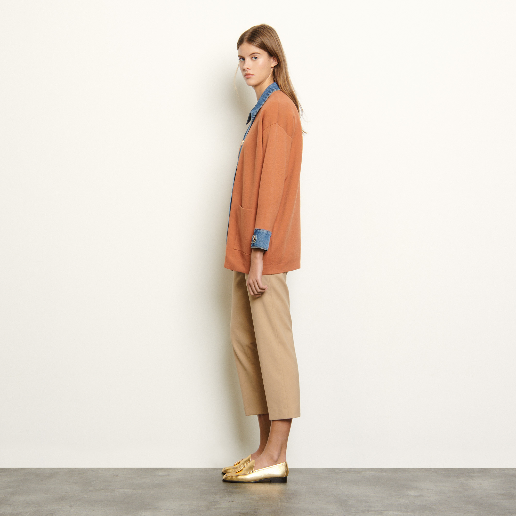 Oversized cardigan with denim inserts  - Brown