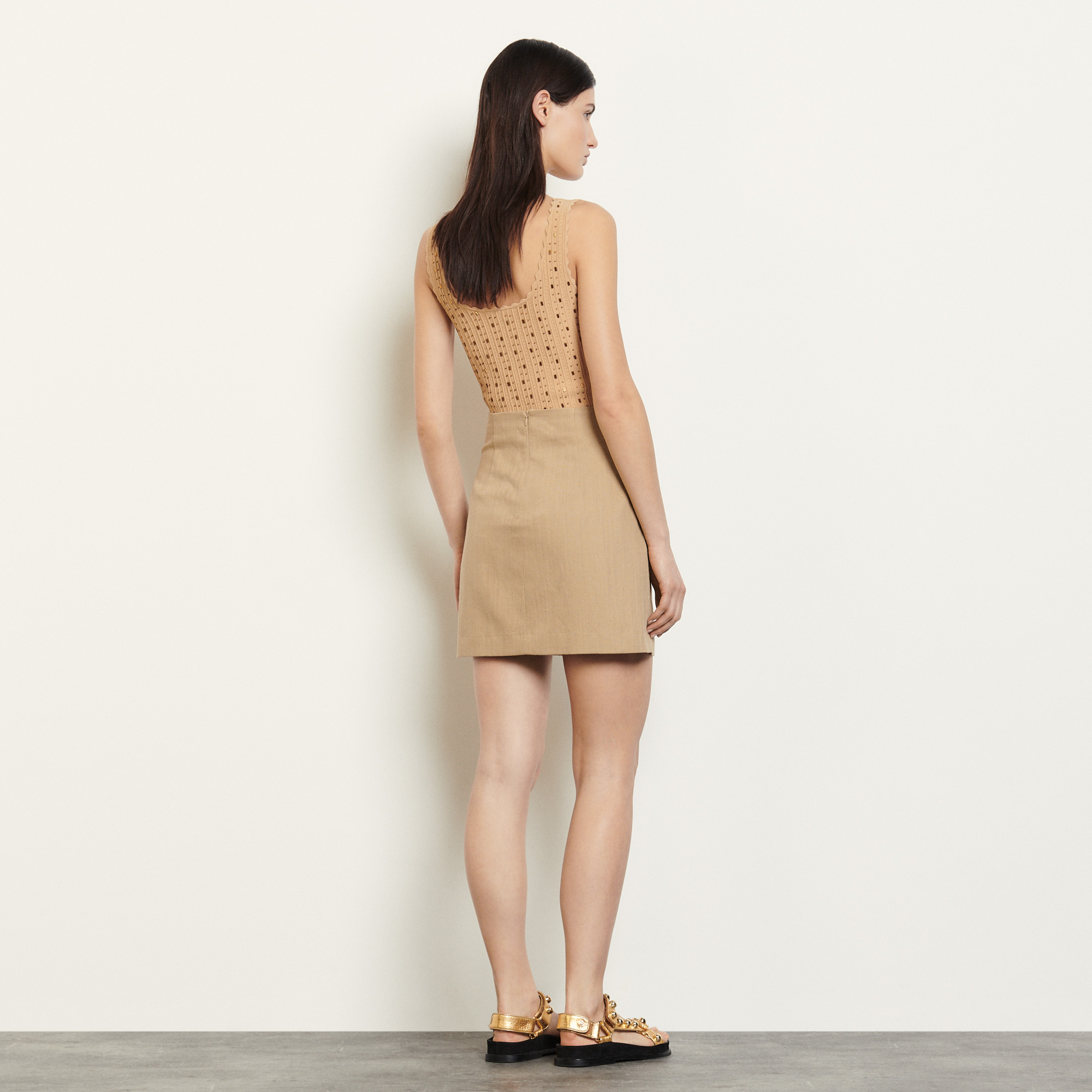 Short cotton and linen blend skirt  - Camel