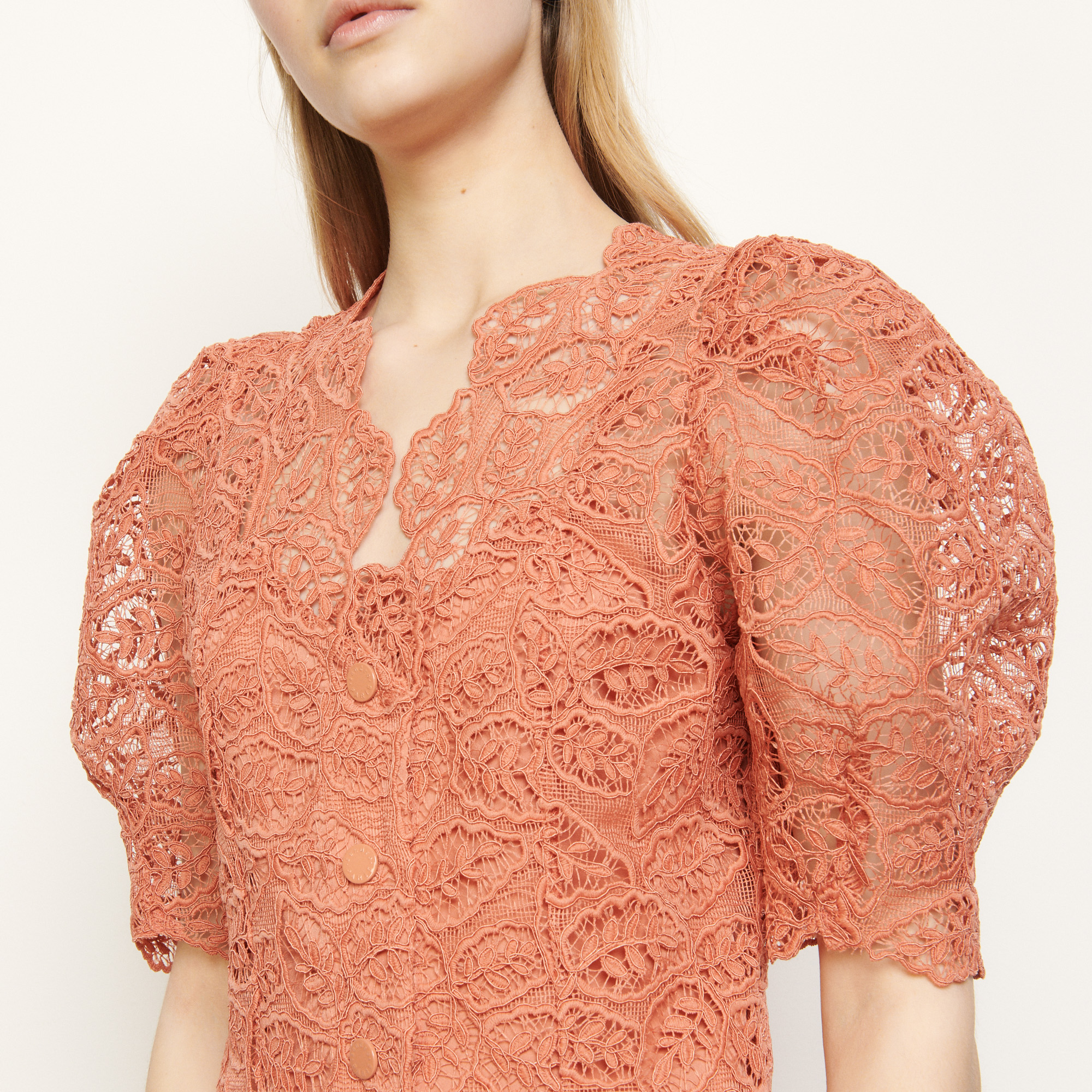 Coral lace coat dress - Coral